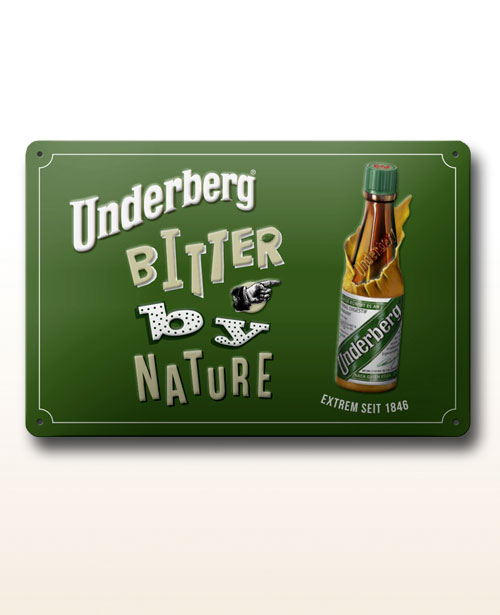 "Underberg enamel sign ""Bitter by nature"""