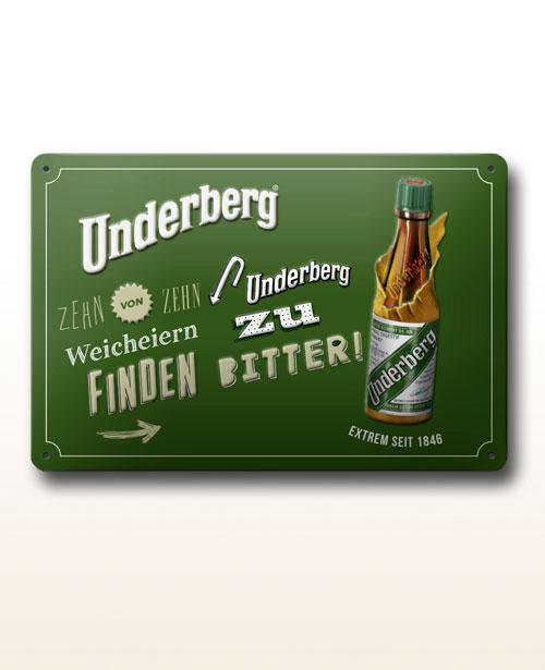 """Underberg enamel sign """"Weicheier"""""""