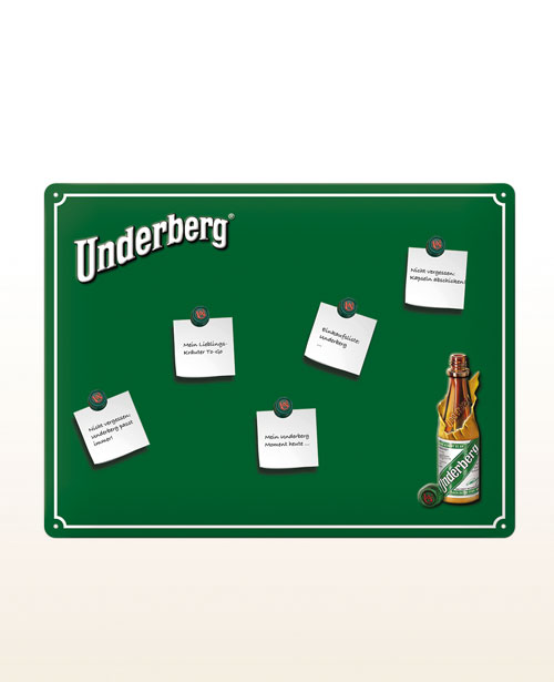Underberg pin board including 5 magnets