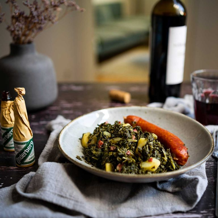 Underberg kale stew with smoked saussages
