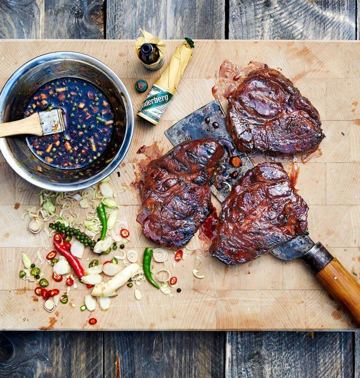 Grillete svinenakke fileter i Underberg-marinade