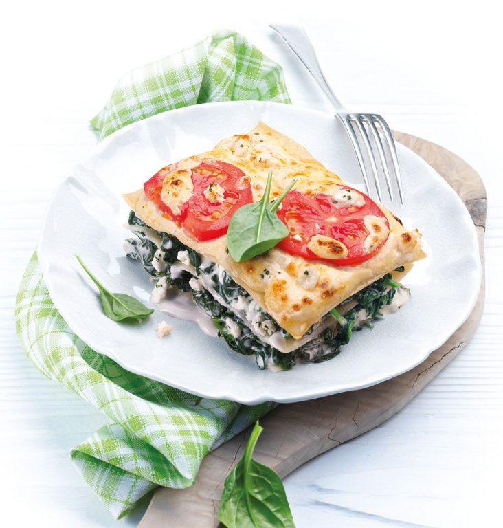 Spinat-lasagne med tysk geitost