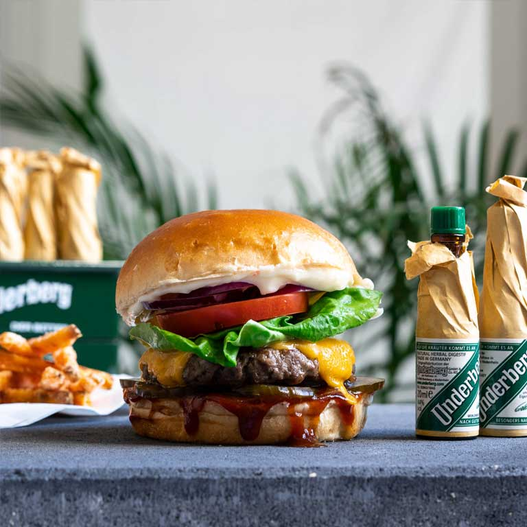 Underberg Burger with sweet potato fries