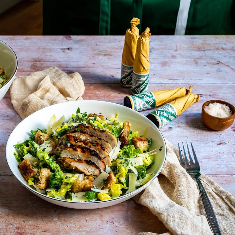 Underberg's Caesar salad with grilled chicken breast fillets