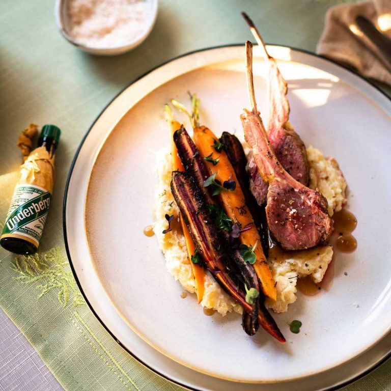 Rack of lamb with caramelized carrots and mashed parsnip