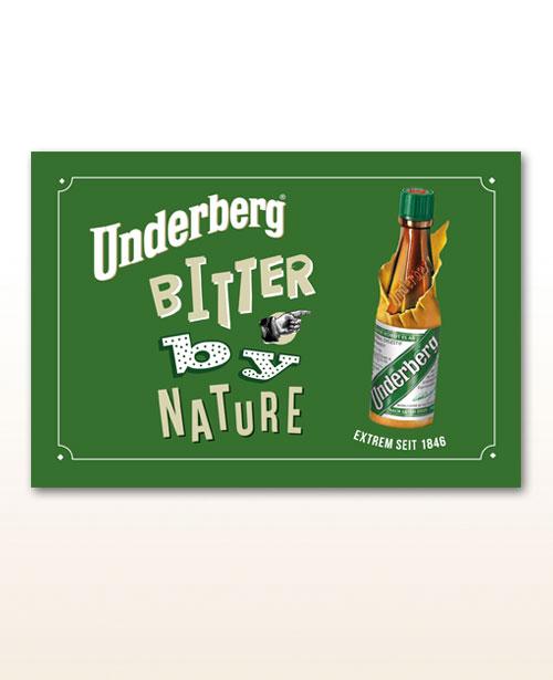 """Underberg Blechschild """"Bitter by Nature"""""""